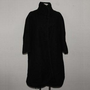 Vintage Black Wool Plaid Collar Wrap Cape Coat OS